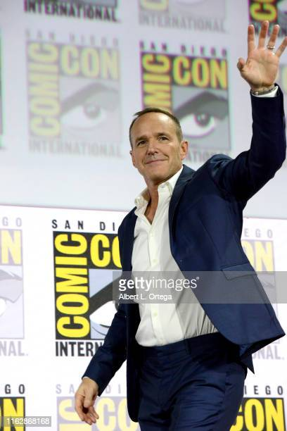 "Clark Gregg speaks at the Marvel's ""Agents Of S.H.I.E.L.D."" panel during 2019 Comic-Con International at San Diego Convention Center on July 18, 2019..."