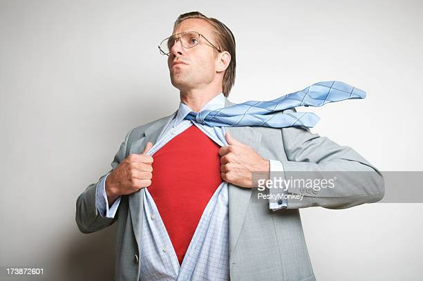 Clark Kent-ish Office Worker Businessman Changes to Superhero