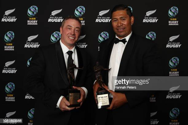 Clark Laidlaw holds the ASB New Zealand Coach of the Year Award and Alama Ieremia holds the ASB National Coach of the Year Award during the 2018 ASB...