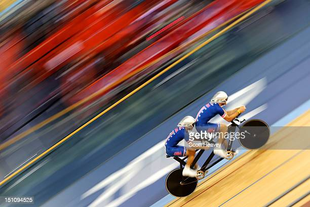 Clark Rachfal and David Swansong of the United States compete in the Men's Individual B 1km Cycling Time Trial final on day 3 of the London 2012...
