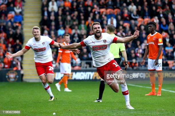 Clark Robertson celebrates scoring his sides second goal during the Sky Bet Leauge One match between Blackpool and Rotherham United at Bloomfield...