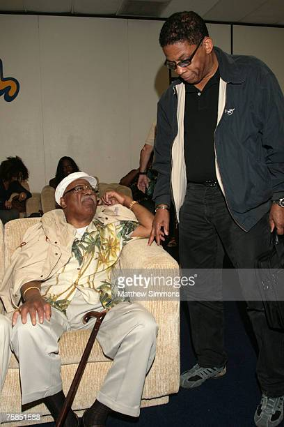 Clark Terry and Herbie Hancock at the Grammy Foundations Starry Night with Quincy Jones Green Room at the UCLA Tennis Center on July 28 2007 in Los...