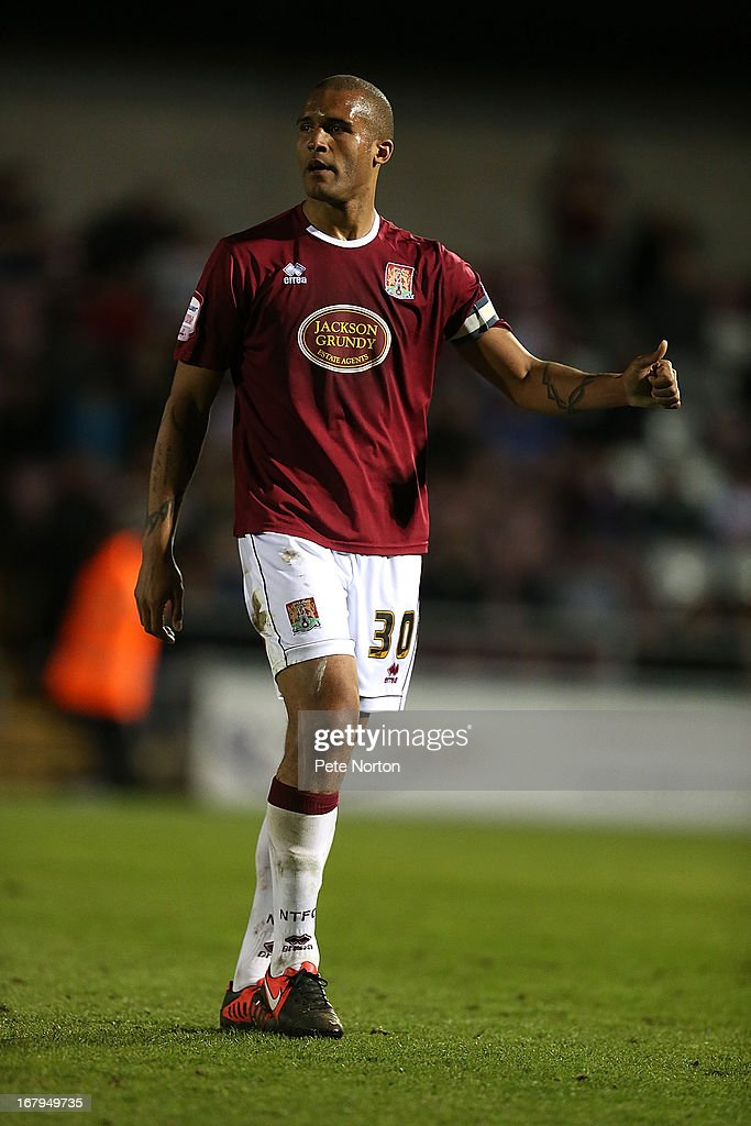 Clarke Carlisle of Northampton Town in action during the npower League Two Play Off Semi Final 1st leg match between Northampton Town and Cheltenham Town at Sixfields Stadium on May 2, 2013 in Northampton, England.
