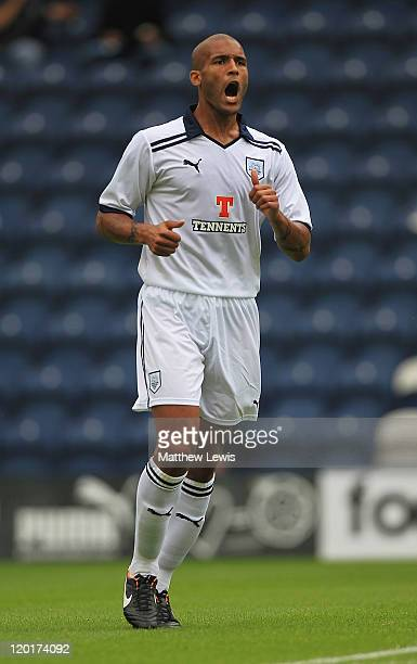 Clarke Carlisle of Preston North End in action during the preseason friendly match between Preston North End and Wigan Athletic at Deepdale on July...