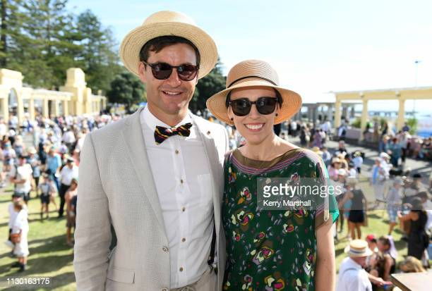 Clarke Gayford and Jacinda Ardern pose for a photograph during the Art Deco Festival on February 17, 2019 in Napier, New Zealand. The annual five day...