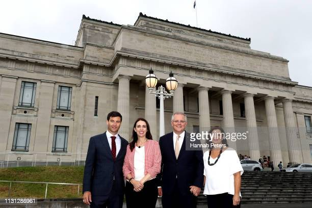 Clarke Gayford New Zealand Prime Minister Jacinda Ardern Australian Prime Minister Scott Morrison and wife Jenny Morrison pose for a photo in front...