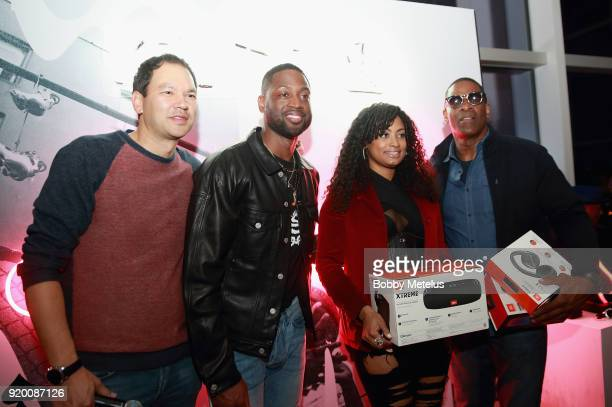 Clarke Miyasaki Dwyane Wade and guests are seen at Stance Spades Tournament during NBA AllStar Weekend on February 18 2018 in Los Angeles California