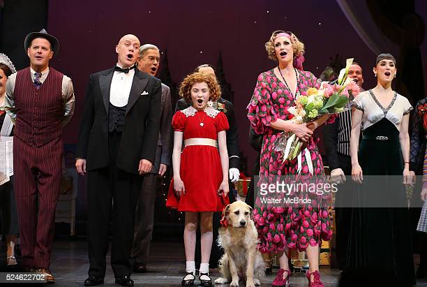 Clarke Thorell Anthony Warlow Merwin Foard Lilla Crawford Jane Lynch Brynn O'Malley during the Curtain Call for Jane Lynch debuting as Miss Hannigan...