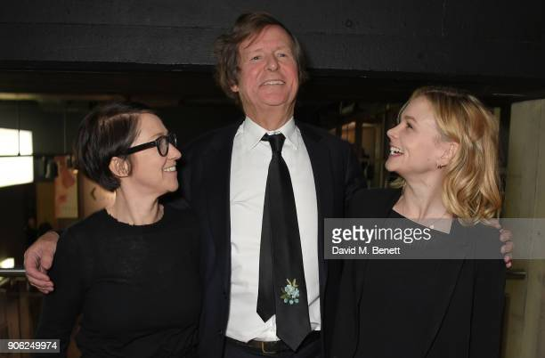 S J Clarkson Sir David Hare and Carey Mulligan attend a special screening and QA for 'Collateral' at BFI Southbank on January 17 2018 in London...