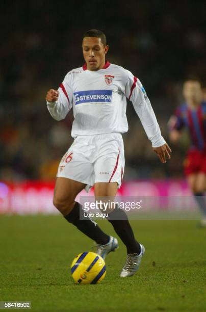 Claro Adriano Correia of Sevilla plays during the Primera Liga match between FC Barcelona and Sevilla on December 11 2005 at the Camp Nou stadium in...