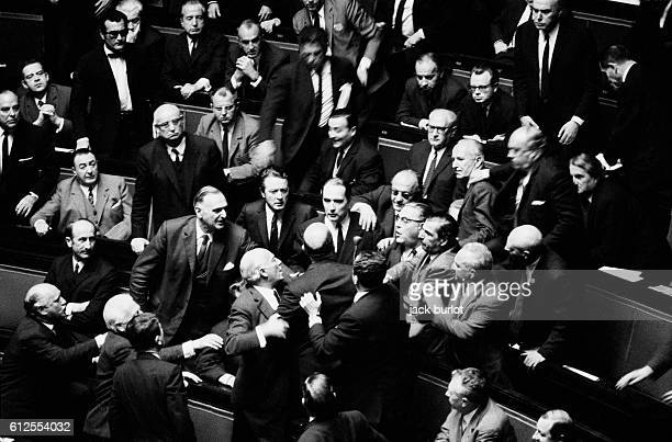 Clash between Francois Mitterrand and UDR representative Michel Boscher at the French Assemblee Nationale