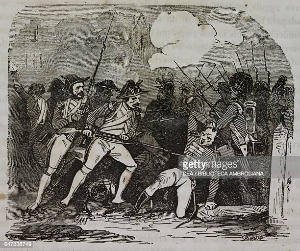 Clash between the French and British soldiers in Berg-op-Zoom, 8 March 1814, Napoleonic Wars, illustration from the first Italian edition of The...