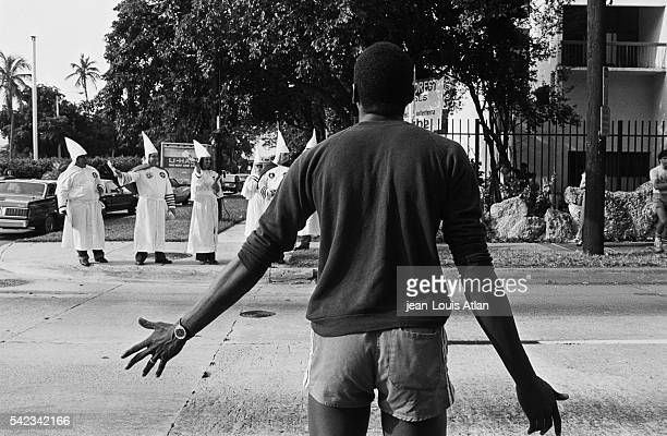 Clash between young AfricanAmericans and Ku Klux Klan members in Miami after the murder of a 20yearold