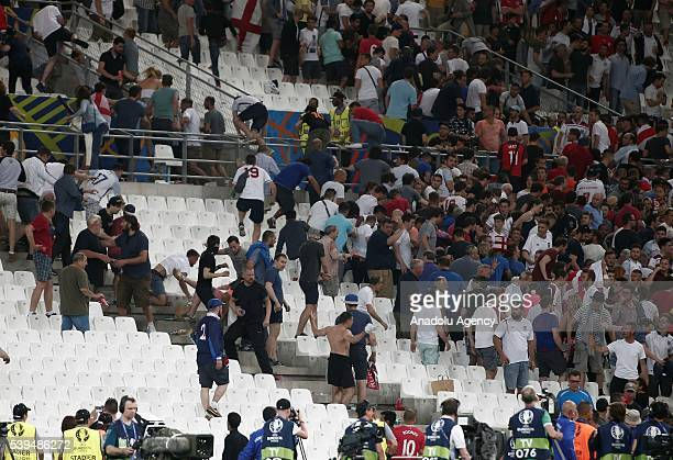 Clash erupts between the fans of England and Russia after Euro 2016 group B football match between England and Russia at Stade Velodrome in Marseille...