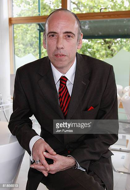 Clash guitarist Mick Jones inside the Evian VIP Suite during the Wimbledon Championships 2008 at the All England Club on June 23, 2008 in London,...