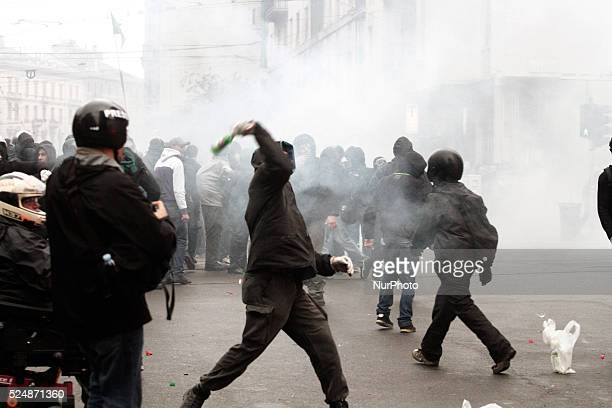 Clashes against police during demonstration in downtown Milan on May 1 2015 to protest against the Universal Exposition Milano 2015 that will run...