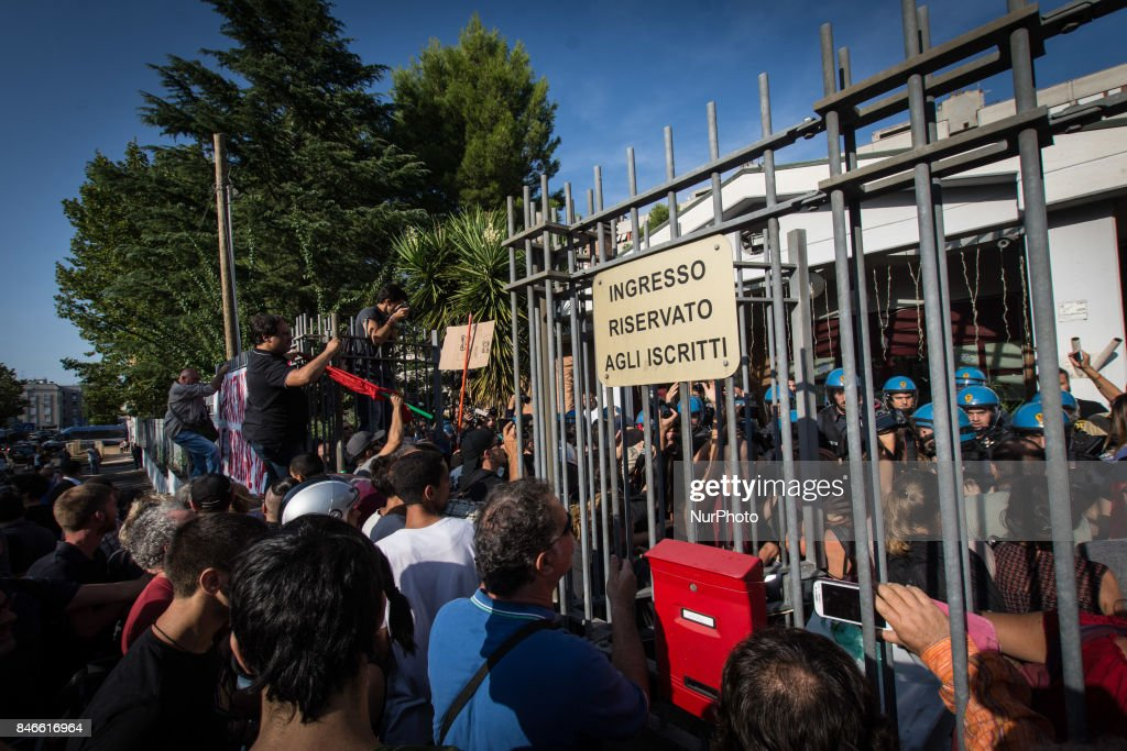 Clashes between anti-fascists and militants of CasaPound at Tiburtino III for the extraordinary City Council, convened at the request of the exponents of the far right to decide on the future of the centre of Reception of the Red Cross in Via del Frantoio, Rome, Italy, on 13 September 2017