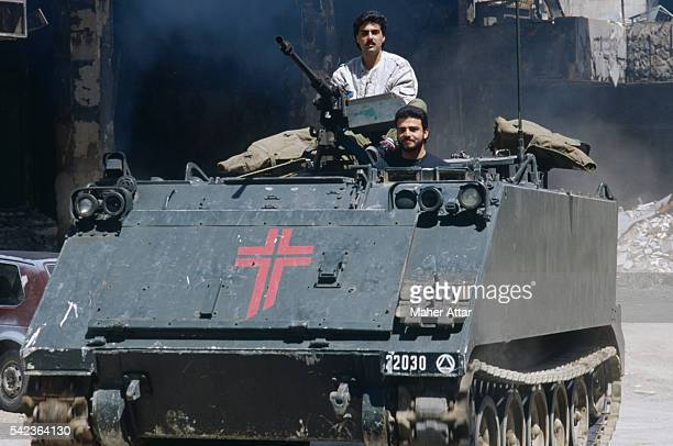 Clashes between Christians and Syrians A M113 personnel carrier on the demarcation line