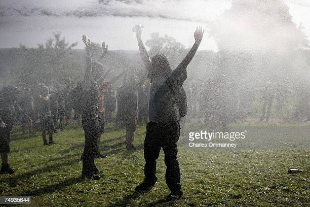 Clashes between police and anti-G8 activists June 7, 2007 at Bollhagen, Germany. Thousands of anti-G8 activists were attempting to block a road...