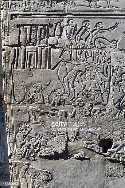 Clashes between the Egyptian and Hittite armies and the fall of the fortress of Kadesh detail from the relief of the Battle of Kadesh won by Ramesses...