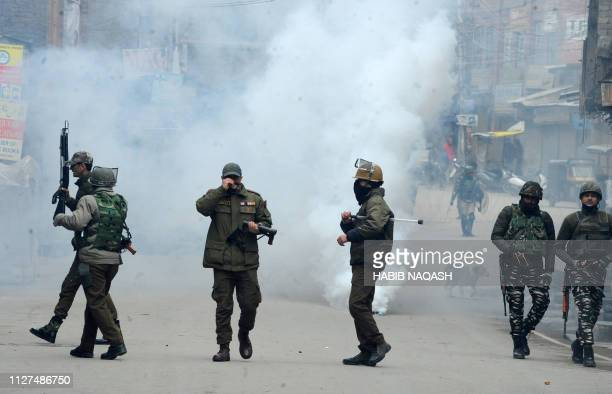 Clashes erupt as Indian National Investigation Agency launch a raid at the Kashmiri separatist leader Mohammad Yasin Malik's residence in Srinagar's...