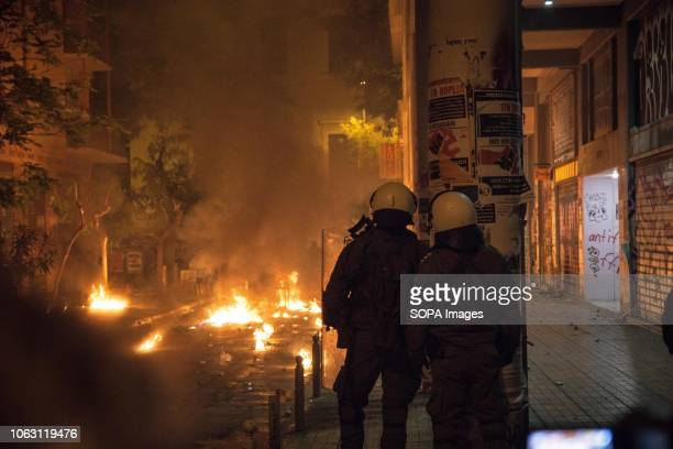 Clashes erupted between anarchists and riot police after the Polytechnic anniversary protest to mark the 45th anniversary of the Polytechnic uprising...
