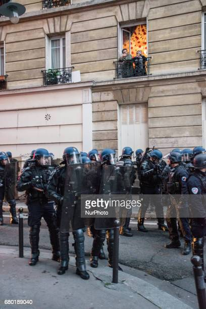 Clashes in Paris France on 7 May 2017 as Mr Macron is elected the new French president Around 800 pm as Mr macron was heralded the new French...