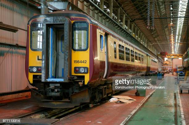 A Class 156 DMU at Alstom Traincare's Springburn depot for refurbishment June 2005