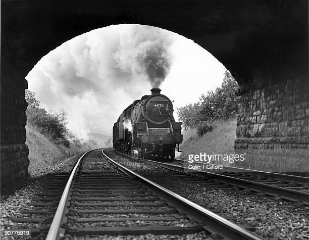 Class 5 4-6-0 No.44775 climbs to Ais Gill summit, on the Yorkshire - Westmorland border, with a southbound freight on 15 September 1967. Photograph...