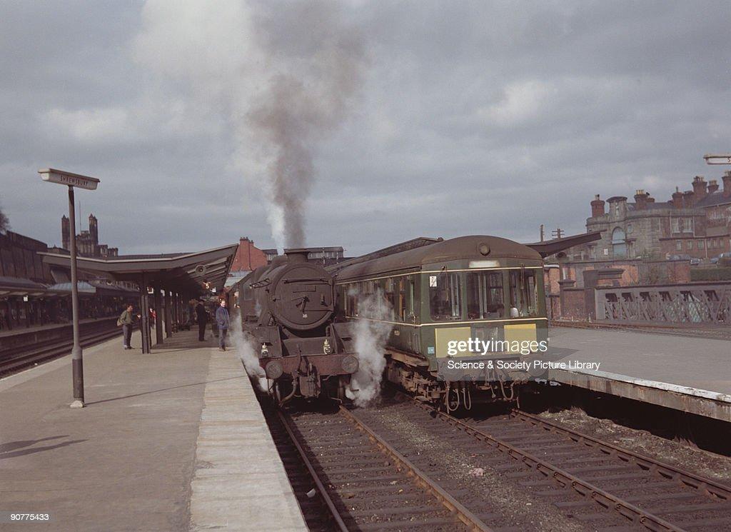 Steam locomotive and diesel locomotive, 1967. : News Photo
