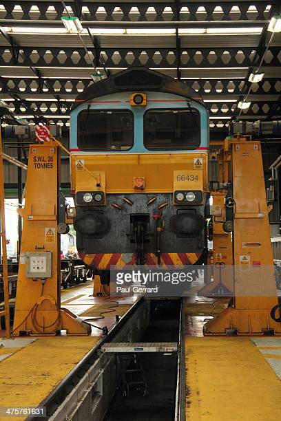 Class 66 locomotive inside Carlisle Kingmoor Railway Depot during DRS Charity Open Day