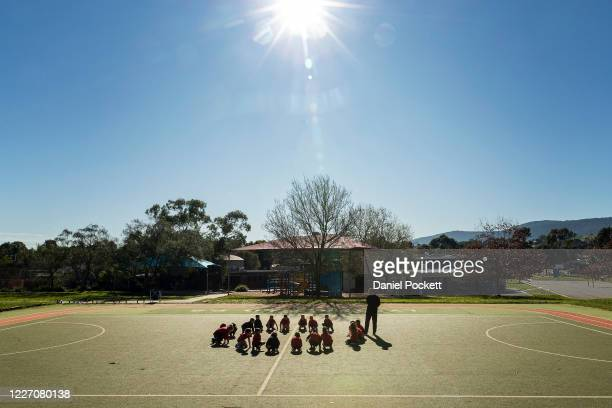 PE class at Lysterfield Primary School on May 26 2020 in Melbourne Australia Students from prep to year two and years 11 and 12 are returning to...