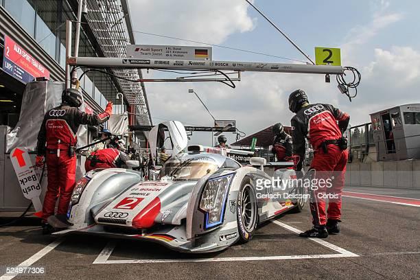 Class Audi Sport Team Joest Audi R18 e-tron quattro of Allan McNish , Tom Kristensen , Loic Duval , in the pit-lane during Free Practice 2 at Round 2...