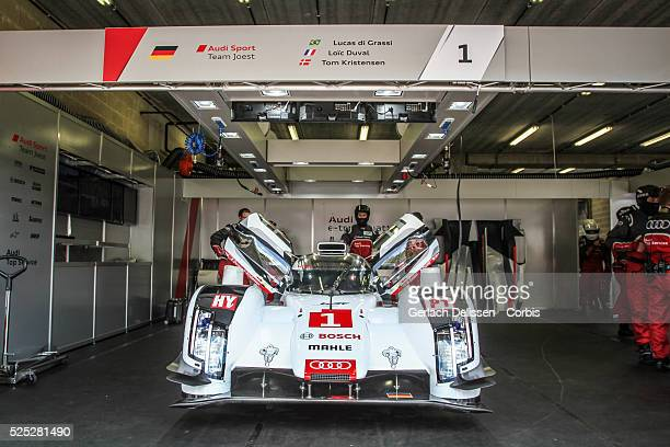 Class Audi Sport Team Joest Audi R18 e-tron quattro of Lucas Di Grassi , Loic Duval and Tom Kristensen in the garage before race start of Round 2 of...