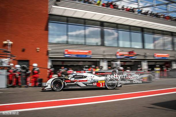 Class Audi Sport Team Joest Audi R18 e-tron quattro of Lucas Di Grassi , Loic Duval and Tom Kristensen in pit lane action during the race of Round 2...