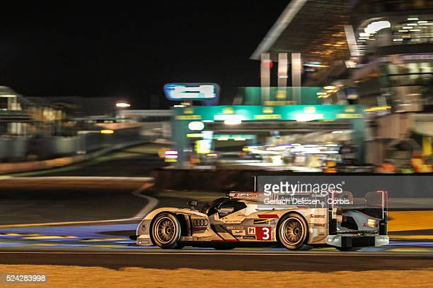 LMP1 class Audi Sport Team Joest Audi R18 etron quattro of Marc Gene Lucas Di Grassi and Oliver Jarvis in action during the 2013 Le Mans 24 Hours in...