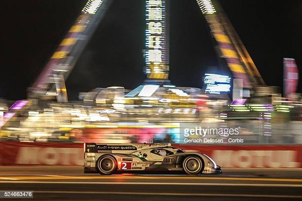 LMP1 class Audi Sport Team Joest Audi R18 etron quattro of Tom Kristensen Allan McNish and Loic Duval in action during the 2013 Le Mans 24 Hours in...