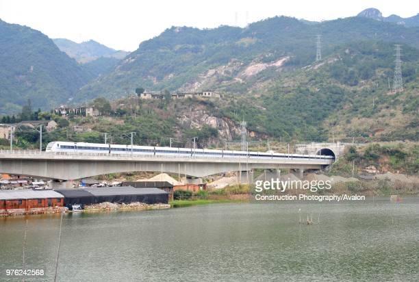Class electric multiple unit crosses the 1.5 km long Feiwan viaduct near Ningde on its way to Fuzhou on the Ningbo - Wenzhou - Fuzhou High Speed...