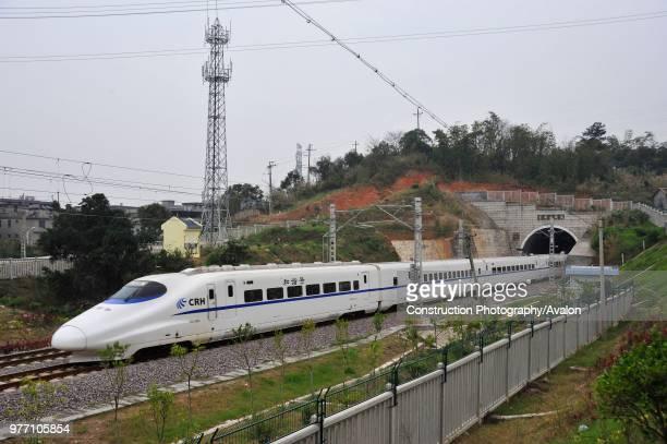 CRH 2 class electric multiple unit leaves Fuzhou station through its northwestern suburbs on the Ningbo Wenzhou Fuzhou High Speed line China 19th...