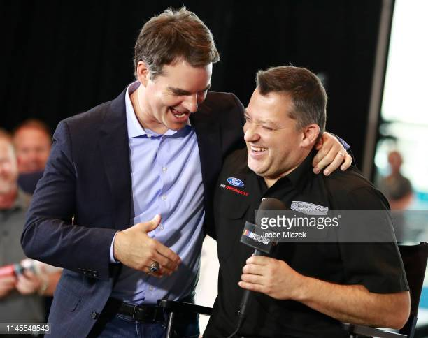 2019 Class member 2019 Jeff Gordon and 2020 class member Tony Stewart embrace during the NASCAR 2020 Hall of Fame announcement ceremony at the NASCAR...
