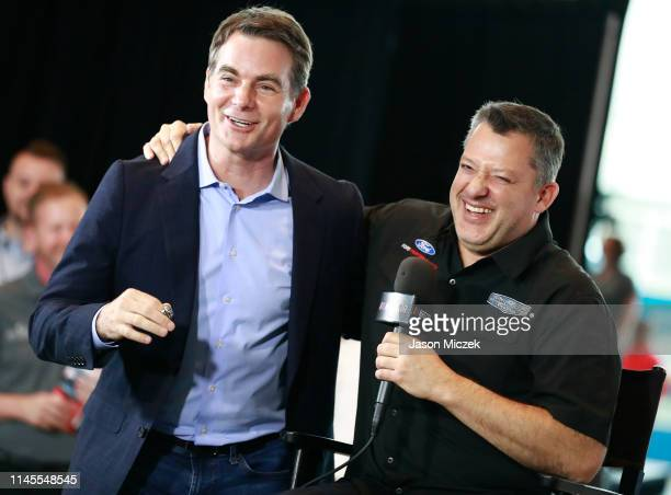 Class member 2019 Jeff Gordon and 2020 class member Tony Stewart embrace during the NASCAR 2020 Hall of Fame announcement ceremony at the NASCAR Hall...
