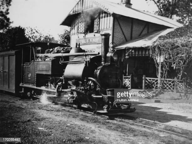 A 040ST 'B' Class narrow gauge steam locomotive at Sukna Station on the Darjeeling Himalayan Railway Darjeeling district India circa 1910 The...