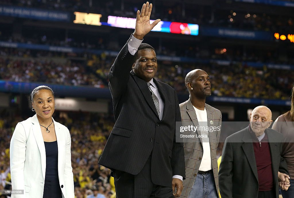 Class of 2013 Basketball Hall of Fame inductees (L-R) Dawn Staley, Bernard King, Gary Payton and Jerry Tarkanian stand on the court as the Naismith Memorial Basketball Hall of Fame 2013 Class Announcement is made during the 2013 NCAA Men's Final Four Championship between the Michigan Wolverines and the Louisville Cardinals at the Georgia Dome on April 8, 2013 in Atlanta, Georgia.