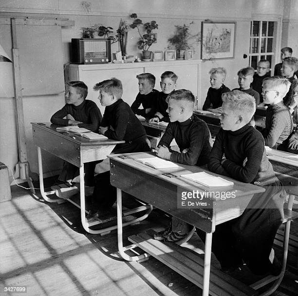 A class of schoolboys in the Dutch town of Volendam