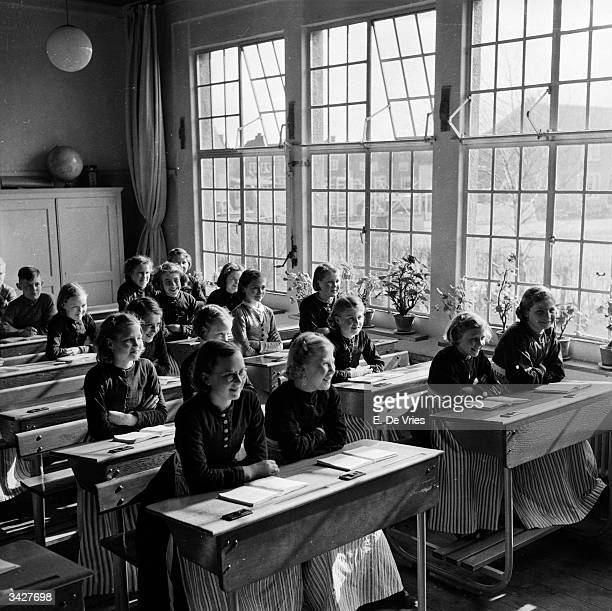 A class of schoolgirls in the Dutch town of Volendam