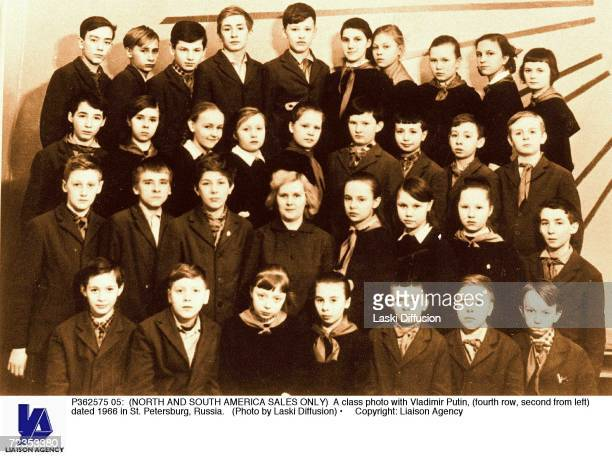 A class photo with Vladimir Putin dated 1966 in St Petersburg Russia