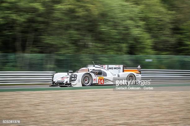 Class Porsche Team Porsche 919 - Hybrid of Romain Dumas / Neel Jani / Marc Lieb in action during Free Practice 2 of Round 2 of the 2014 FIA World...