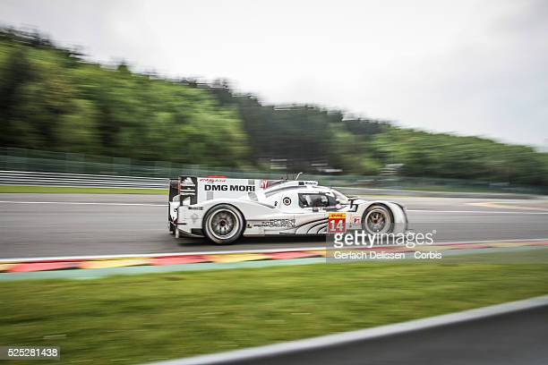 LMP1 class Porsche Team Porsche 919 Hybrid of Romain Dumas / Neel Jani / Marc Lieb in action during Free Practice 2 of Round 2 of the 2014 FIA World...