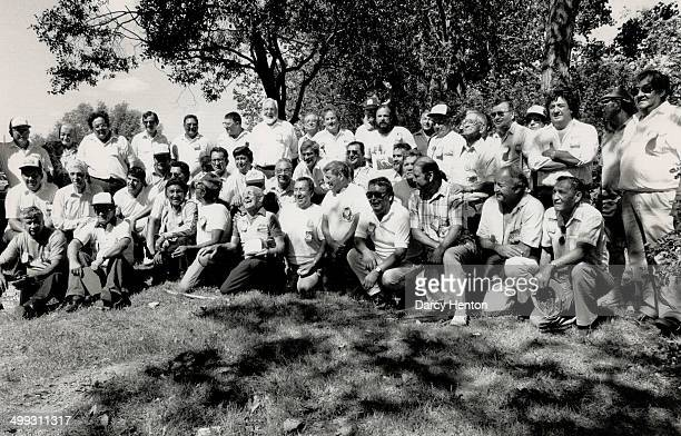 Class reunion Father Bill Maurice seen laughing at centre is surrounded by a group of his former students from St Peter Claver's Residential School...