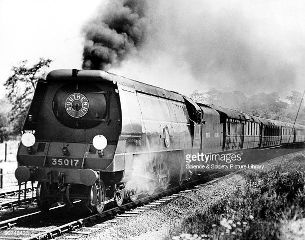 Class steam locomotive 'Mallard' with a Lord Nelson Class engine during the locomotive exchanges Nine Elms depot London 1948 Photograph by Bishop...